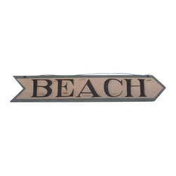 Handcrafted Nautical Decor - Wooden Beach Arrow Sign 33'' - Our   Wooden Beach Arrow Sign 33'' is the perfect choice to display  your  affinity for decorating a beach house. Place this sign in a beach   kitchen, use as a coastal decorating idea, or hang this up as part of   your beach bedroom decor. Given all the options, one thing is for   certain, you are sure to inject the beach lifestyle into your humble   abode.------    Easily mountable to hang outside or inside--    Made from high quality woods--    Sign says ''Beach'and is in the shape of arrow--