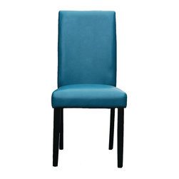 Parker Parsons Chair, Set of 2, Blue - Modern yet casual, the soft leather seat and gently curved back add an interesting note to a chair equally at home in a contemporary, transitional or global decor.