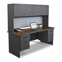 "Marvel Office Furniture - Pronto 72"" Double File Computer Desk Credenza with Flipper Door Cabinet - If you a looking for an office desk, front office desk, or computer desk, look no further than the Pronto office furniture systems by Marvel. Your office design will be easy with one of our office desk sets. With solutions for the home office or commercial furniture environment, the Pronto desk make it easy to work comfortably, our storage solutions help you to be more organized. Features: -Desk credenza.-Durable melamine laminate tops.-Modesty panel with wire management.-Locks with 2 keys.-2 Hanging pedestals with box and file.-Made in USA.-Includes two 2'' grommets with full leg end panel.-Pronto collection.-Powder Coated Finish: Yes.-Gloss Finish: No.-UV Finish: No.-Top Material: Laminate.-Base Material: Metal.-Number of Items Included: 6.-Water Resistant: No.-Stain Resistant: No.-Heat Resistant: No.-Distressed: No.-Collection: Pronto.-Eco-Friendly: Yes.-Cable Management: Yes.-Keyboard Tray: No.-Height Adjustable: No.-Drawers Included: Yes -File Drawer: Yes.-Drawer Glide Material : Metal.-Drawer Glide Extension: Full Extension.-Safety Stop : Yes.-Soft-Close Drawer: No.-Locking Drawer: Yes.-Core Removable Drawer Locks: No.-Ball Bearing Glides: Yes..-Number of Drawer Pedestals: 2.-Pencil Drawer: No.-Jewelry Tray: No.-Exterior Shelving: No.-Ergonomic Design: No.-Handedness: Both.-Scratch Resistant: No.-Chair Included: No.-Legs Included: Yes -Number of Legs: 2.-Leg Material: Steel.-Leg Glides: No..-Casters Included: No.-Hutch Included: No.-Treadmill Included: No.-Modesty Panel: Yes -Modesty Panel Details: 3/4 Height..-CPU Storage: No.-Built In Outlet: No.-Built In Surge Protector: No.-Light Included: No.-Finished Back: No.-Tipping Prevention: No.-Modular: No.-Application: Office.-Commercial Use: Yes.-Country of Manufacture: United States.-Solid Wood Construction: Yes.-Wood Tone (Color: Oak Laminate/Putty): Light.-Wood Tone (Color: Mahogany Laminate/Dark Neutral): Dark.-Swatch Available: Yes.-Recycled Content: Yes.Specifications: -Green Guard Certified: Yes.Dimensions: -Overall Height - Top to Bottom: 65"".-Overall Width - Side to Side: 72"".-Overall Depth - Front to Back: 24"".-Desk Return: No.-Credenza: -Credenza Height- Top to Bottom: 29"".-Credenza Width- Side to Side: 72"".-Credenza Depth- Front to Back: 24""..-Bridge: No.-Cabinet: No.-Drawer: No.-Shelving: No.-Seat: No.-Desktop Height: 29"".-Desktop Width - Side to Side: 72"".-Desktop Depth - Front to Back: 30"".-Knee Space Height: 27.75"".-Knee Space Depth: 30"".-Hutch: -Hutch Height - Top to Bottom: 36"".-Hutch Width - Side to Side: 72"".-Hutch Depth - Front to Back: 14""..-Legs: -Leg Height: 27.75""..-Overall Product Weight: 342 lbs.Assembly: -Assembly required.-Assembly Required: Yes.-Additional Parts Required: No.Warranty: -Product Warranty: Lifetime."