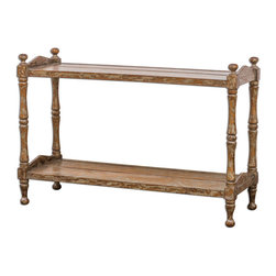Uttermost - Macaire Wooden Sofa Table - Made from plantation-grown mango wood, honey-stained and hand painted in warm oatmeal with heavy distressing.