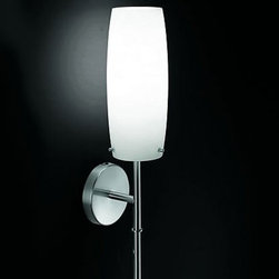 """Penta light - Penta light Pan Wall Sconce - The Pan wall sconce has been designed by Umberto Asnago for Penta Light. This wall fixture comes with a satin nickel metal frame and features your choice of a blown glass opal white shade or a transparent blown glass shade with inside pyrex. This classy fixture adds glamour to any environment.  Product Details:   The Pan wall sconce has been designed by Umberto Asnago for Penta Light. This wall fixture comes with a satin nickel metal frame and features a hand blown opal white glass shade with an inside pyrex glass bulb protector. This classy fixture adds glamour to any environment. Details:                         Manufacturer:                         Penta Light                                         Designer:                        Umberto Asnago - 1994                                         Made in:            Italy                             Dimensions:                         Width: 4"""" (10 cm) X Height: 19 1/4"""" (49 cm)                                          Light Bulb:                        1 X 60W E27                                         Material:             satin nickel metal, opal glass,pyrex"""