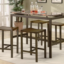 Coaster - Atlus 5-Pc Counter Height Dining Set - Includes table and four backless stools. Contemporary style. Straight legs. Clean lines. Smooth straight edges. Rectangular shape table. Marble look top. Matte finish brown metal frame. Table: 48 in. L x 24 in. W x 36 in. H. Stool: 16 in. W x 14 in. D x 24 in. H. WarrantyThis counter height dining set marries utility and beauty perfectly, offering a fun gathering place for family and friends. Adding warmth to your space while complementing your home decor. Complementing backless stools create a sleek contemporary look for the perfect set. There will be plenty to get excited about when you add this contemporary table to your casual dining and entertainment room.