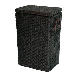 "Oriental Furniture - Rush Grass Laundry Basket, Black - This piece of woven rush grass furniture provides an attractive alternative to wicker and rattan furniture. This clothes hamper has a distinctive tapered design, with a small ""footprint"". The outside is soft, thick, woven rush grass, with a cotton fabric lining inside. The hinged lid and convenient faux leather handles, as well as the lovely color options, make this an excellent quality laundry basket. Woven wicker and rattan clothes baskets were common in American homes for many years, until plastic replaced them. All natural, ecologically abundant, woven rush grass seems to hold more appeal for some customers, Earthy and sensual. An attractive clothes hamper is a great decorative accessory for bedroom or bath, and for a new couple, it's a great wedding gift idea!"
