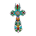 Glass Window Panel - Glass Window Panel. Beautiful and timeless jeweled cross. Each glass piece designed to complement the other to complete a wonderful design detailed in abundant color. Elegantly curved frame and rich in details. A wonderful piece to accent any room. Only top quality materials used.