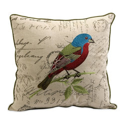 iMax - iMax Betsy Embroidered Bird Pillow X-81079 - The Betsy bird pillow is embroidered with vivid renditions of fanciful and feminine motifs on typographically imprinted linen fabric.