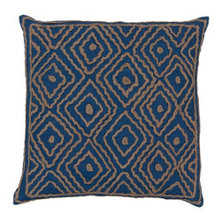 "Surya LD025-2020D 100% Linen w/ Cotton Detail 20"" x 20"" Decorative Pillow - Raised pattern makes this textured pillow stand out. This pillow has a down fill and a zipper closure. Made in India with one hundred percent Linen and cotton detail, this pillow is durable and priced right. Filler: Down Feathers. Shape: Square"