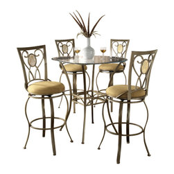 "Hillsdale Furniture - Hillsdale Brookside 5-Piece Pub Table Set with Brookside Oval Barstool - Hillsdale Furniture's versatile bistro collection features the panache of a Pub with all comfort and convenience of full scale dining. This round bar height table is topped with a stunning 36"" glass top and can be sold with your choice of four barstools. The Marin barstool, upholstered in the always popular beige microfiber, and finished in a flecked brown, features a traditional slat back accented by a fossil stone filled diamond motif. Our Hanover barstool features a delicate lattice backed design, and boasts the same finish and fabric as the Marin. Last, our always in demand Brookside barstools are a lovely compliment to the this table as well. This ensemble offers so many choices, and is lovely as a complete collection. No need for a complete dining group, these barstools are all elegant alone as well, and would make fine additions to your kitchen or bar area."