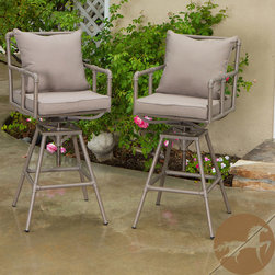 Christopher Knight Home - Christopher Knight Home Northrup Pipe Outdoor Adjustable Barstools (Set of 2) - The Northrup pipe outdoor barstools combine a modern, angular pipe frame with the convenience of outdoor cushions. You can comfortably relax at your outdoor bar or pub table and adjust the stool's height accordingly.