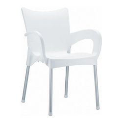 Compamia - Romeo Resin Dining Arm Chair White - Set of 4 - Romeo dining chair. Made from commercial grade resin with rust free aluminum legs. Great for outdoor spaces, patios and decks. Used by restaurants, cafes and hotels. Color white.