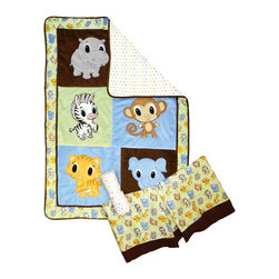 Trend Lab - Trend Lab 3 Piece Crib Bedding Set - Chibi Zoo - 106524 - Shop for Bedding Sets from Hayneedle.com! Your little one will love to cuddle up with sweet baby zoo animals! The Trend Lab 3 Piece Crib Bedding Set - Chibi Zoo is inspired by Japanese anime featuring endearingly cute characters with oversized heads and big engaging eyes. Each Chibi Zoo animal is appliqued on incredibly soft velour or ultrasuede and is accented with an animal scatter print and mini-square print. Chibi Zoo friends are delightfully cute in any nursery!Set includes quilt crib sheet and skirt. The quilt measures 35 x 45 inches and features patches of sage and sky blue velour as well as chocolate ultrasuede each with a different Chibi Zoo animal embroidered applique. Framing the quilt is a coordinating baby zoo animal scatter print in gray stone sky blue caramel buttercup chocolate and white on a sage background. Reverse of quilt is a mini square print in sage gray stone sky blue caramel and buttercup on a white background. Chocolate ultrasuede trim adds the finishing touch. Zoo animals include: hippo giraffe zebra monkey tiger and elephant. Crib sheet features the mini square print in sage gray stone sky blue caramel and buttercup on a white background. Sheet has 10-inch deep pockets and fits a standard 52 x 28 inch crib mattress. Elastic around the entire opening ensures a more secure fit. Box pleat skirt with 15-inch drop features the baby zoo animal scatter print in gray stone sky blue caramel buttercup chocolate and white on a sage background with chocolate ultrasuede across the bottom. Matching Chibi Zoo Crib Bumpers sold separately. Complete your nursery with coordinating room accessories from the Chibi Zoo collection by Trend Lab.About Trend LabBegun in 2001 in Minnesota Trend Lab is a privately held company proudly owned by women. Rapid growth in the past five years has put Trend Lab products on the shelves of major retailers and the company continues to develop thoroughly tes