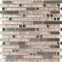 "Glass Tile Oasis - Koala Random Bricks Peach Stainless Steel Series Glossy Glass and Metal - Sheet size:  11 3/4"" x 11 3/4""        Tile Size:  Random Bricks        Tiles per sheet:  94        Tile thickness:  1/4""        Grout Joints:  1/8""        Sheet Mount:  Mesh Backed     Sold by the sheet     -  These visually stunning tiles are durable and designed for use in any rehabilitation project or new construction. Whether you need a beautiful and vibrant tile solution for your bathroom decor  or are looking to capture an eye-catching and visually upbeat feel for your foyer  these provide a versatile and excellent choice. With white gold foil-backed glass sections  stainless steel pieces  and beveled glass accents  these tiles can add a warm  yet classy touch to any room."