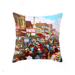 "Pictorial History Decor - Unique 18"" x 18"" Pillow Featuring Vintage Downtown Chicago Scene - This vibrant colorful decorative pillow cover features a busy street in downtown Chicago in a time when horse drawn carriages, vintage automobiles and streetcars shared the streets.  The vintage image takes you back to the hustle and bustle of days gone by. Imagine the smell of fresh baked goods and the sound of the trolley bell clanging as the crowd made its way through the busy street."