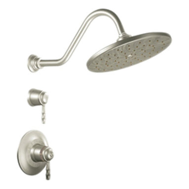 """Moen - Moen T88112BN Brushed Nickel Shower Valve Trim 2-Function Thermostatic Cartridge - Moen T88112BN is part of the Bamboo bath collection. Moen T88112BN has a Brushed Nickel finish. Moen T88112BN ExacttempShower valve trim only fits MPact common valve system and requires Moen's S3371 3/4"""" thermostatic valve and S3600 volume control valve to make this faucet complete. Valve sold separately. Moen T88112BN Shower valve only trim includes dual-function thermostatic Cartridge. Moen T88112BN is a two handle Shower valve trim only and handles adjusts volume and temperature. Moen T88112BN shower valve only two handle trim provides for ease of operation. Moen T88112BN ExactTemp thermostatic valve allows for pinpoint temperature control and is approved by ADA. Moen T88112BN includes a 10? Rainshower shower head that delivers 2.5 GPM max. Moen T88112BN is part of the Bamboo collection with its echoes of peace and serenity found in the nature reflecting the popular design trend and bringing the outdoors into your home. Brushed Nickel has a Lifeshine finish guarantee from Moen and provides style and durability. Moen T88112BN metal lever handles meets all requirements of ADA CSA B125.1, ASME A122.18.1, ASSE1016. Lifetime Limited Warranty."""