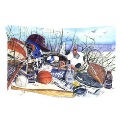 Caroline's Treasures - Sports On The Beach Fabric Standard Pillowcase Moisture Wicking Material - Standard White on back with artwork on the front of the pillowcase, 20.5 in w x 30 in. Nice jersy knit Moisture wicking material that wicks the moisture away from the head like a sports fabric (similar to Nike or Under Armour), breathable performance fabric makes for a nice sleeping experience and shows quality.  Wash cold and dry medium.  Fabric even gets softer as you wash it.  No ironing required.