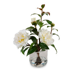 New Growth Designs - Camellia Cuttings in Water Illusion - If you love delicate Camellias, but hesitate to display them inside because they're so delicate, these realistic branch cuttings in clear acrylic water are your answer. The glass cube vase fits attractively on a desk, side table or countertop.