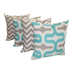 Land of Pillows - Embrace Ocean and Zig Zag Gray Chevron Outdoor Throw Pillow - 4 Pk, 16x16 - Fabric Designer - Premier Prints
