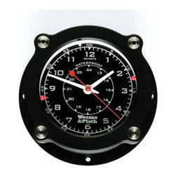 """Weems & Plath Nautilus Waterproof Quartz Clock - The Nautilus Waterproof Quartz Clock has a 3.75"""" dial, a 5.88"""" base and is 2.5"""" deep. It contains precision quartz movement which is accurate to +/- 15 seconds a month  is waterproof in water to a depth of 100 feet! A fresh AA battery is included. The low glare, satin black case is constructed of solid aluminum that is color anodized and sealed so that the finish will not peel, bubble or tarnish. The glass crystal sits in a double O-ring seat for vibration, impact  thermal expansion protection. The durable moveable markers are made of U.V. stabilized polycarbonate outside the crystal for marking time or pressure. All fasteners are stainless steel. To calibrate the movement simply twist the case 1/8 turn to remove the case  leave the back plate on the bulkhead. This feature is also convienient should you want to remove your instruments for storage or anti-theft reasons. It weighs 1.1 lbs. It comes with complete instructions, mounting hardware, a fresh battery and a lifetime warranty."""