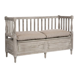 Kathy Kuo Home - Damita French Country Weathered Gray High Back Storage Bench Sofa - Short - Lean back and take in the moment on this high back French country bench. The naturally aged, gray birch evokes walks in the woods and picnics in the vineyards. The tall back and arms surround gray, hemp overstuffed down cushions, concealing hinged covers for extra storage.