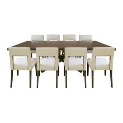 Atelier of Prague, Inc / Jan Rosol - LaCasa Chairs with Infinite Dining Table - Jan rosol LaCasa Collection fully upholstered dining chairs, shown in coffee bean finish and ivory leather upholstery.