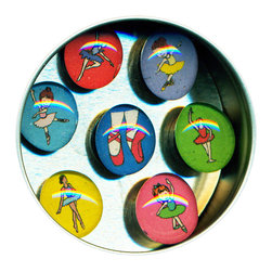 "Ballet Glass Gem Magnet Set - This adorable magnet set is a great gift for the little ballerina in your life. Handmade in our studio, each of our glass gem magnets start with tiny paintings which are reduced to size and reproduced. We use super strong ceramic magnets, so they're not only cute, they're functional. Each magnet is about 3/4 inch wide, the tin is 2.75"" wide. Set of 7 in a tin. Made in the USA."