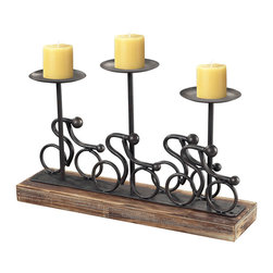 Sterling Industries - Altringham Candle Holder in Pewter on Burnished Wood Tone Base - Altringham Candle Holder in Pewter on Burnished Wood Tone Base by Sterling Industries