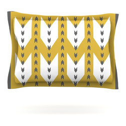 """Kess InHouse - Pellerina Design """"Golden Aztec"""" Yellow White Pillow Sham (Cotton, 30"""" x 20"""") - Pairing your already chic duvet cover with playful pillow shams is the perfect way to tie your bedroom together. There are endless possibilities to feed your artistic palette with these imaginative pillow shams. It will looks so elegant you won't want ruin the masterpiece you have created when you go to bed. Not only are these pillow shams nice to look at they are also made from a high quality cotton blend. They are so soft that they will elevate your sleep up to level that is beyond Cloud 9. We always print our goods with the highest quality printing process in order to maintain the integrity of the art that you are adeptly displaying. This means that you won't have to worry about your art fading or your sham loosing it's freshness."""