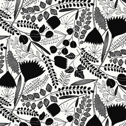 Loboloup - Bloomsbury, Black & White, Roll - If Mrs Havisham had a redecorating budget, she'd surely update her old floral patterns with this modern black-and-white garden, full of flowers and ferns.