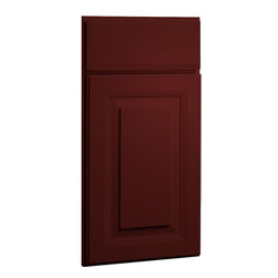 CliqStudios.com - Carlton Garnet Red Paint Shaker Kitchen Cabinet Sample - The updated traditional styling of a raised panel cabinet door brings architectural interest for a timeless look. The CliqStudios Carlton door pairs perfectly with stainless appliances, nickel finish hardware, glass subway tile backsplash, modern bar stools, hardwood floors and granite countertops.  Carlton works equally well in an open concept kitchen, galley kitchen, u-shaped kitchen, kitchen island, kitchen peninsula or in a nearby kitchen desk or window seat. Consider coordinating with a variety of recessed lighting, undercabinet task lighting, pendant lighting and other decorative accents.