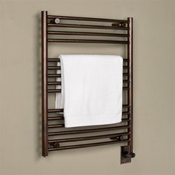 "24"" Bergama Hardwired Towel Warmer - The Bergama Hardwired Towel Warmer features a contemporary design and 15 towel rails, and will easily mount to your bathroom wall. Add a matching robe hook, sold separately."