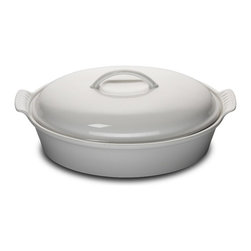 Le Creuset - Le Creuset Heritage Stoneware Oval 4 Quart Covered Casserole, White, 4 Quart - Le Creuset stoneware casseroles offer superior, highly functional performance both in the oven and at the table. These durable stoneware dishes include tight-fitting lids and easy-to-grip grooved side handles, and are designed for a multitude of kitchen tasks, whether baking desserts, oven-roasting meats, broiling fish or simply marinating before cooking.