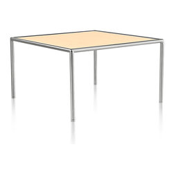 Geiger - Full Round Table - You may wonder why this square table is named the Full Round Table. It's all about the clever, round metal tubes framing and lifting the wood veneer top. Perfect for use in your office or home.