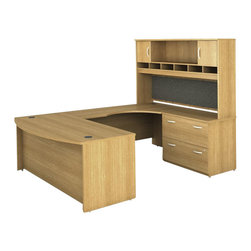 BBF - Bush Series C 4-Piece U-Shape Right-Hand Computer Desk in Light Oak - Bush - Office Sets - WC60346PKG2 - Bush Series C 2 Drawer Lateral Wood File Storage Cabinet in Light Oak (included quantity: 1) Safe, secure and generous, the Bush Advantage Series C Two Drawer Lateral File Cabinet features a hefty size and a simple, neutral style. This luxury lateral filing cabinet is a bold and efficient addition to any executive suite. Features: