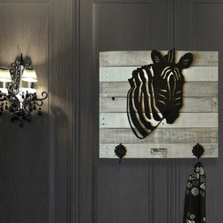 black zebra (painted steel) on white wash wood frame - Made out of steel, mounted on a reclaimed wood.