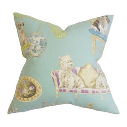 """The Pillow Collection - Zuzela Animal Print Pillow Seaglass Blue 18"""" x 18"""" - This plush accent pillow is printed with a lovely animal pattern. If you're a dog lover, this throw pillow will surely be a delightful accessory to add in your home. This decor pillow comes with a refreshing blue background and a multicolored pattern. Measures 18"""", this toss pillow fits most furniture. Made of 100% high-quality cotton fabric. Hidden zipper closure for easy cover removal.  Knife edge finish on all four sides.  Reversible pillow with the same fabric on the back side.  Spot cleaning suggested."""