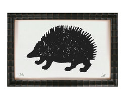 Kathy Kuo Home - Cheyenne Tribal Rustic Lodge Vintage Hedgehog Art Print - Hedge fun. With its woodblock character, this playful print exudes vintage charm. Custom made to order, it's perfect for a rustic interiors — like a lodge or ranch — but also right at home in a child's room.