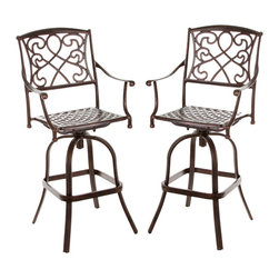 Great Deal Furniture - Sedalia Outdoor Cast Aluminum Bar Stool, Set of 2 - The Sedalia bar stool will bring luxury and convenience to your outdoor space. Made from cast aluminum, this durable high quality stool features intricate design on the backrest and a diamond-mesh seat rest. The shiny copper finish is neutral to match any outdoor furniture and will hold up in any weather condition. Whether in your backyard, patio, deck or even your restaurant outdoor dining space, you'll enjoy this tool for years to come.