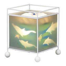Natural Design House - MeMe Magic Lamp Dolphine Design - Children are fascinated by these lamps! Wonderful magic lamp, rotates gently when switched on using the heat from the bulb and projects a soothing image onto the ceiling and walls.