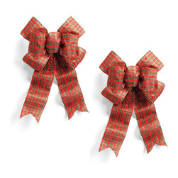 "Frontgate - Set of Two Pre-Made Plaid Outdoor Bows - 12"" - Rich color and fullness, with your choice or Red, Burgundy, or Plaid. 12"" and 18"" sizes come as a set of 2 bows. Indoor/outdoor weather resistant. Wired edges hold their shape. Ties on back for easy decorating. Add instant color to wreaths and garlands with our Pre-made Bows. Double-stitched seams with heavy gauge wire shape easily and won't fray. Made of UV-coated, weather-resistant poly-acrylic fabric.  .  .  .  . ."