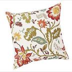 "Annabelle Vine Floral Embroidered Pillow Cover, 24"" sq., Warm - A gorgeous mix of florals is hand embroidered in a two-tone palette on our pillow cover. On its own or coordinated with solids in similar hues, it makes an impression on a chair or sofa. 24"" square Made of pure cotton. Yarn dyed for vibrant, lasting color. Reverses to solid ivory. Button closure. Insert sold separately; down blend or synthetic. Machine wash. Imported."