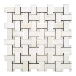 All Marble Tiles - Arabescato Carrara Honed Marble & Arabescato Honed Marble Dots Basketweave - Finish: Honed