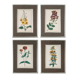 Uttermost - Uttermost Floral Varieties Framed Art, Set of 4 41393 - Prints are accented by dark brown, nubbly and loosely woven linen mats. Frames and matching fillets have a silver leaf base with light champagne wash.