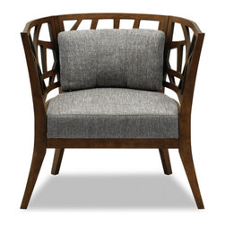 Inova Team -Modern Brown Wooden Armchair - Take a seat on this lounge chair. Made of eco-friendly hardwood in a warm cocoa stain, it represents versatility with an avant-garde flair. Its modern and abstract asymmetrical patterned back and wide padded seating is sure to provide great comfort with a touch of oomph!