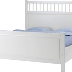 Hemnes Bed frame, white - If you're drawn to traditional and romantic styles, this bed will fit perfectly in any room. With a white canvas, the colorful and creative textile bedding designs are limitless. I can picture it with big navy stripes for a nautical feel, or even an ever-so-inviting soft, matelassé style blanket.