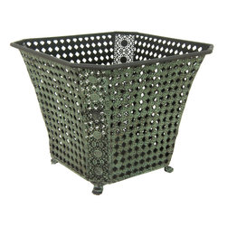 Oriental Furniture - Wrought Iron Perforated Square Waste Basket - Inspired by classic Victorian cane webbing, this lovely bin has been finished with a lush green patina with the appearance of antique copper. Lightweight and airy, this basket is a stylish, practical way to add vintage charm to your home  or office.