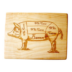 Milk & Honey Luxuries - Bacon Pig Diagram Handmade Wooden Cutting Board - Locally sourced solid maple, engraved with a vintage butcher's pig diagram for the Bacon Lover.