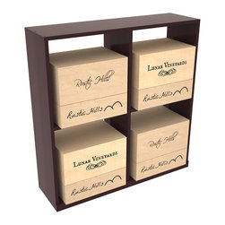 Wine Racks America - Solid Case Wine Storage Bin in Redwood, Burgundy + Satin Finish - Simple and effective, this case stores up to 8 six bottle wooden cases or 4 cardboard cases. Paired with a culinary grade Butcher's Block, this wine storage bin becomes a focal point for wine accessories. This rack is built to last. That is guaranteed.