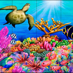 The Tile Mural Store (USA) - Tile Mural - Reef Revelers  - Kitchen Backsplash Ideas - This beautiful artwork by Carolyn Steele has been digitally reproduced for tiles and depicts some very colorul fish.  Our tiles with sea turtles are a great way to add something unique to your kitchen backsplash tile project. Make your tub and shower surround bathroom tile project exceptional with one of our decorative tile murals of sea turtles. Decorative tiles with turtles are beautiful and timeless and will never go out of style. Make a seaturtle tile mural part of your bathroom wall tile and enjoy this tile mural every day in your newly renovated bathroom.
