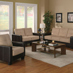 Coaster - Regatta Collection Cream Casual 3-Piece Living Room Set - This three-piece set features combination microfiber and leather-like vinyl upholstery that creates a stylish two-tone effect in your living room. Consisting of a sofa, love seat and chair, this contemporary three-piece living room set includes plush cream microfiber on the seats and rich dark brown vinyl-wrapped bases. Simply place in your living room for effortless style! Simple assembly required.