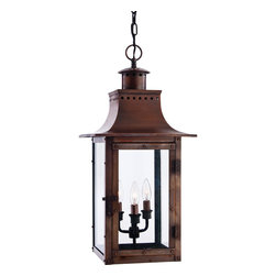 Cambridge - Chalmers 3-light Aged Copper Large Hanging Lantern - The Chalmers large hanging lantern has a vintage inspired design in a copper finish. It will give your home the romantic,reproduction style of antique gas lights still popular today on many of the charming homes in New Orleans and Charleston.