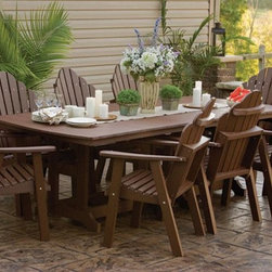 "Orchid Polywood Outdoor Dining Set - This Polywood Outdoor dining set is made of recycled plastic.  The Amish Polywood 44"" x 96"" Garden Classic Orchid Table and 8 Chairs Set is the eco-friendly, maintenance-free choice in outdoor furniture. Poly Lumber, a wood substitute that is made from recycled materials, will not splinter, rot, fade or warp."